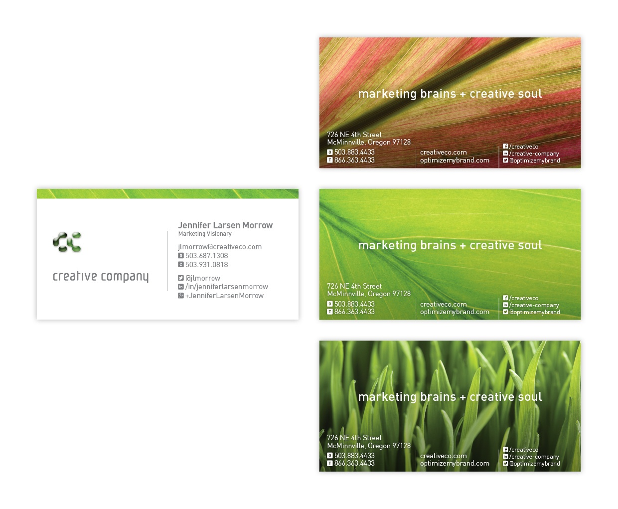 The newest version of the Creative Company business cards. A fresh, clean look.