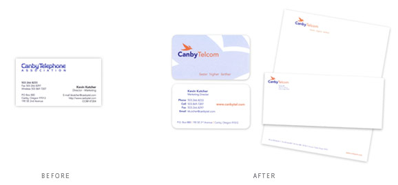 A b2c rebrand for Canby Telcom included a stationary package.