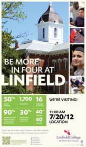 Student recruitment and a brand refresh for Linfield College means a new bold look, as seen in this High School Visit Poster.