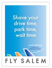 A new brand launch for a new service, Fly Salem, included a flyer.
