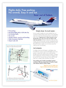 A new brand launch for a new service, Fly Salem, included marketing materials to get the word out.