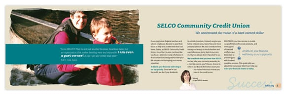 This brand restage for the credit union SELCO included updated marketing materials.