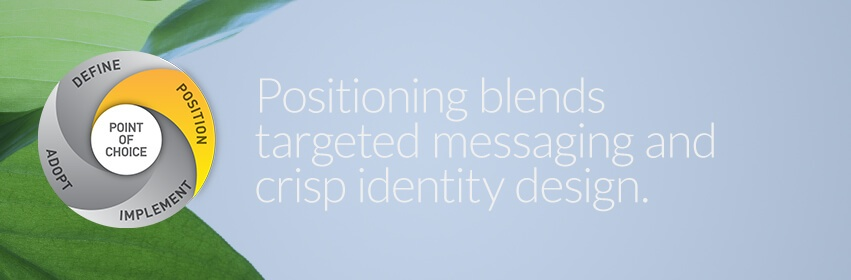 positioning strategy, the visual and verbal brand, blends targeted messaging and crisp design.