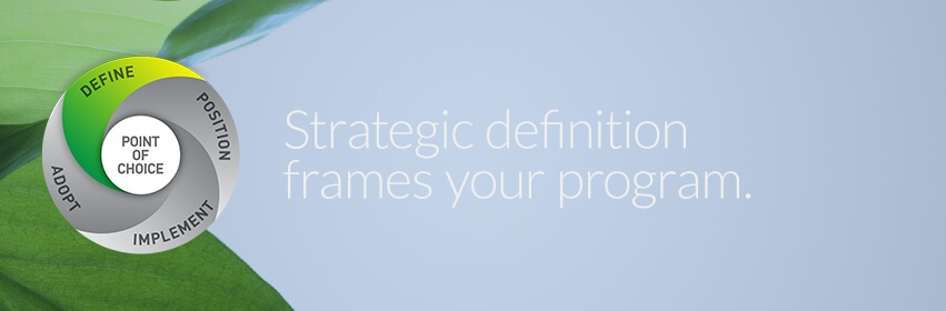 Strategic Definition guides positioning, the visual and verbal brand.