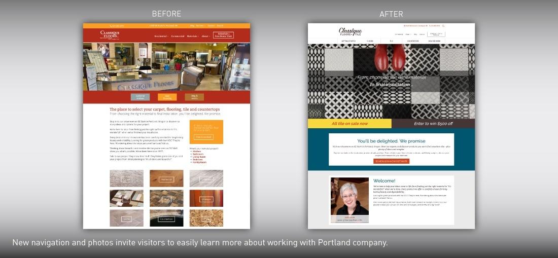 Classique Floor + Tile website redesign