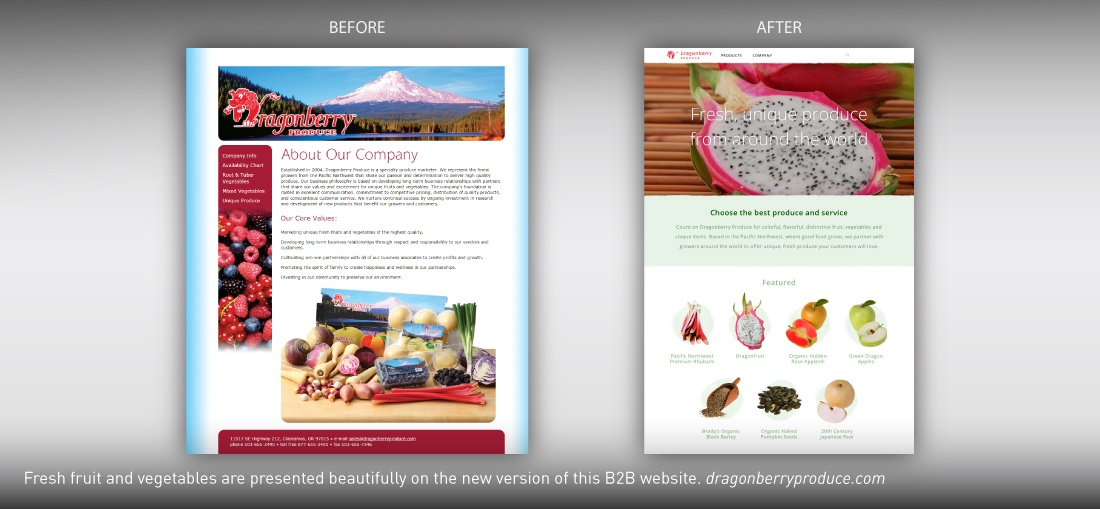 Dragonberry Produce website redesign
