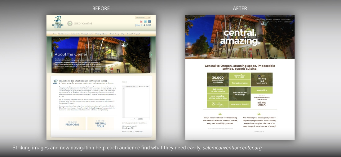 Salem Convention Center website redesign